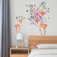 Colorful Flowers Birds Deer Head Wall Stickers Living Room Bedroom Wall Decals Home Decor Creative Animals
