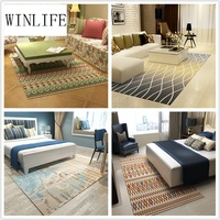 WINLIFE North European Style Carpet Geometric Pattern Rug For Living Room/Parlor Tea Table Mat Computer Chair Rug Washable Mat