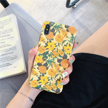 Yellow Flower floral Leaf Phone Case For iphone 8 Plus 6 6S 7 X Case For iphone XS Max XR soft Pineapple Lemon Back Cover leaf print iphone case