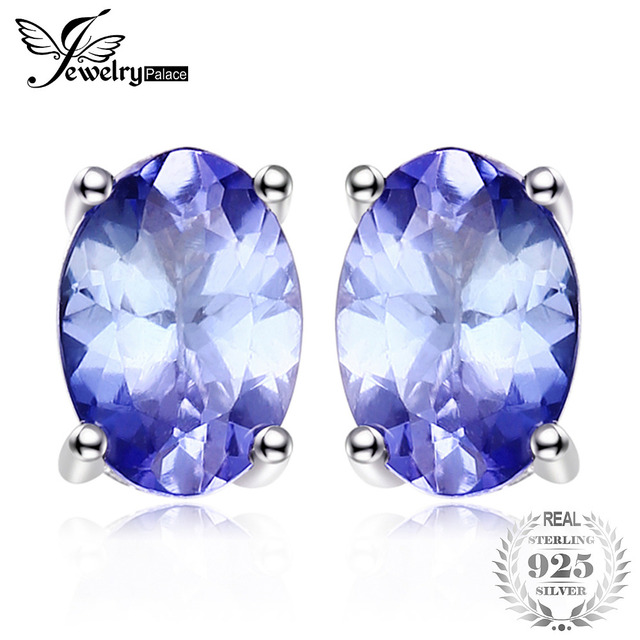 Jewelrypalace Solid 925 Sterling Silver 1ct Natural Tanzanite Stud Earrings For Women Fashion Blue Oval Cut