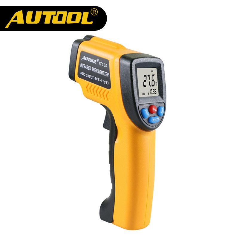 AUTOOL IT100 Infrared Thermometer Non-contact Digital LCD Display Infrared Thermometers C/F Selection -50~380 degree(-58~716F)