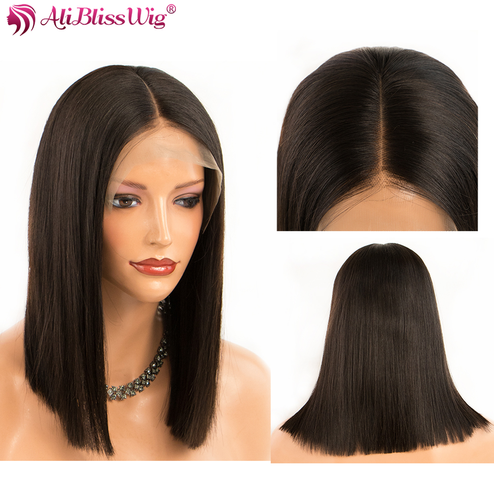 Brazilian 13x4 Lace Front Human Hair Wigs Straight Bob Lace Front Wigs For Black Women Pre Plucked Short Bob Wigs Baby Hair Remy