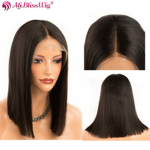 Short Bob Straight Lace Front Wigs 130% Density Lace Human Hair Wigs For Women Brazilian Remy Hair Wigs Full End Aliblisswig(China)