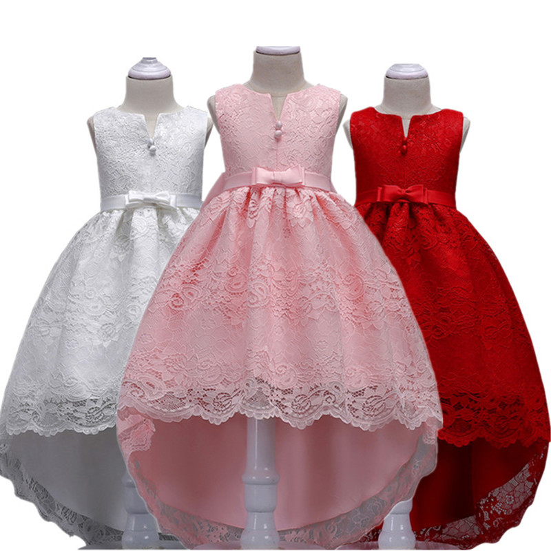 Baby Girl Clothes Flower Kids Girls Lace Dresses Ball Gown Princess Wedding Party Chirstmas & New Year Costume 3-14 Years 4 15y little big girls clothes rustic flower girl wedding occasion junior bridesmaid kids cocktail dresses for 14 year girls