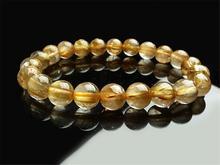 Natural Brazil Gold Rutilated Quartz Crystal Titanium Woman Man Wealthy Round Beads Bracelet 9mm Jewelry Bangle AAAA