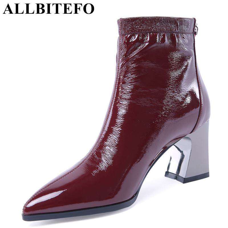 ALLBITEFO genuine leather pointed toe brand high heels ankle boots thick heel winter women boots girls