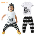 VICVIK Brand Tops + Harem Letter White Cotton Pants 2pcs Set Boys 0-5Y Clothes Sets Baby Boy Clothing Toddler Casual T-shirt