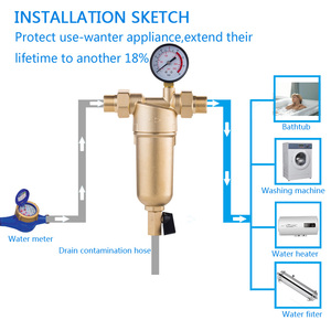 Image 2 - Siphon backwas Pre filter water filter purifier system whole brass body stainless steel mesh prefiltro with gauge free shipping