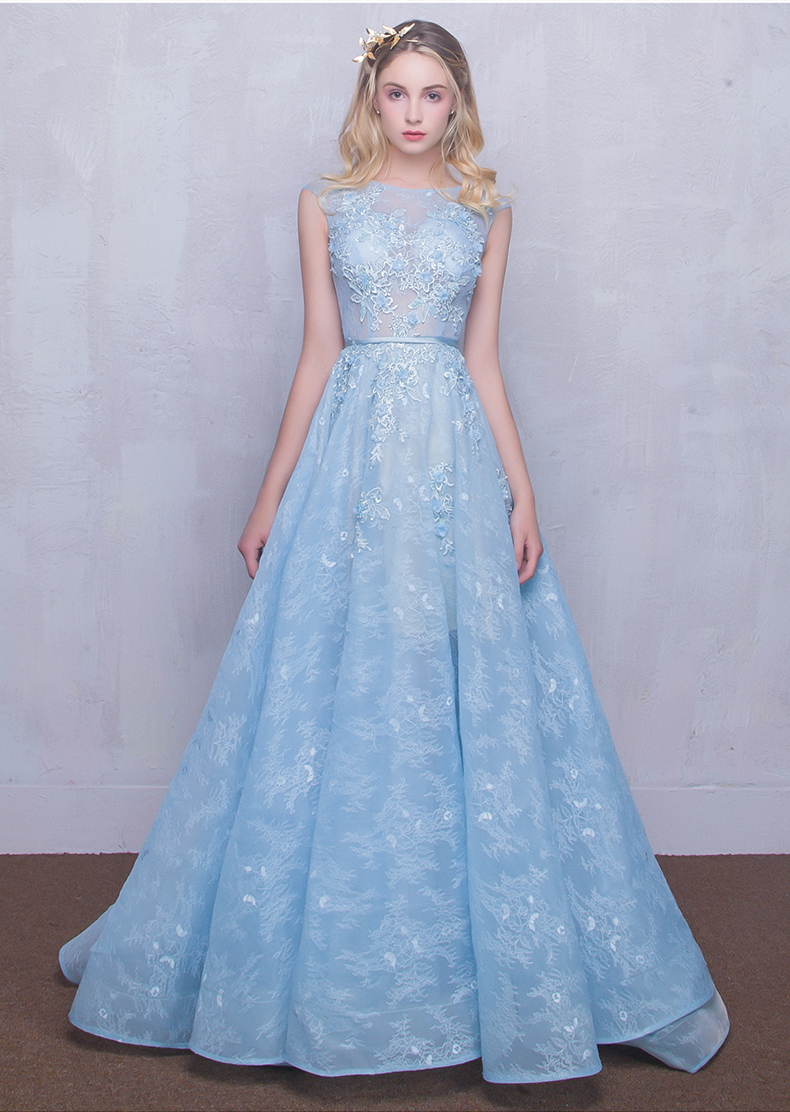 ed1d2dbf9c 2017 New Evening Gown Dress Lace Long Party Dress Banquet Sleeveless  Appliques O-Neck Slim blue Engagement dress Iiiusion Zippe