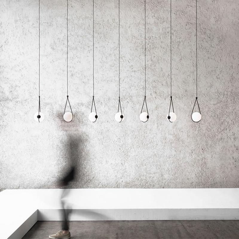 Nordic palla di vetro paralume luce del pendente di trasporto libero per comodino lampada di goccia tavolo da pranzo hanglamp Italia designer luce lampada a sospensione apparecchio