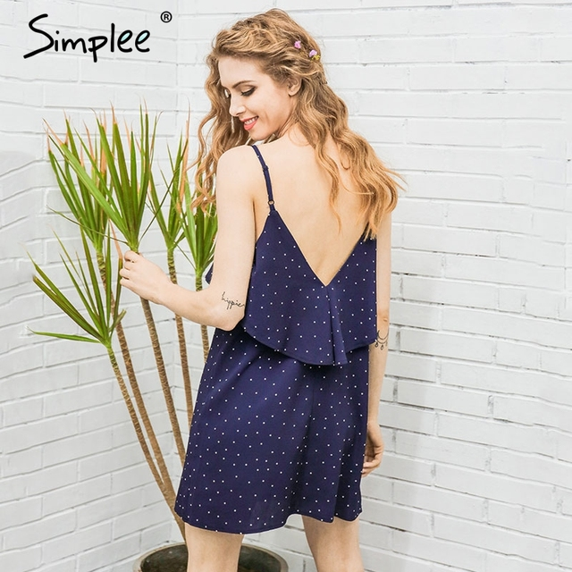 Simplee Ruffle chiffon polka dot summer dress Vintage soft black backless short dress Women causal beach white dress vestidos