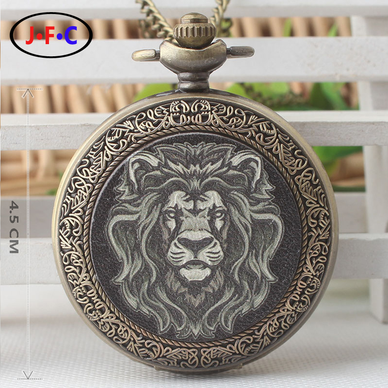 Alice New Alice pattern Domineering Lion quartz pocket Watch Male lady Flip Quartz watch chain table DS276 european and american movies aladdin and the magic lamp quartz pocket watch do the old flip quartz watch chain table ds274