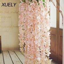 90cm kirschblüte Reben Sakura Künstliche blumen für party Hochzeit decke dekor wand Hängen rattan fleur verlängert werden Kann