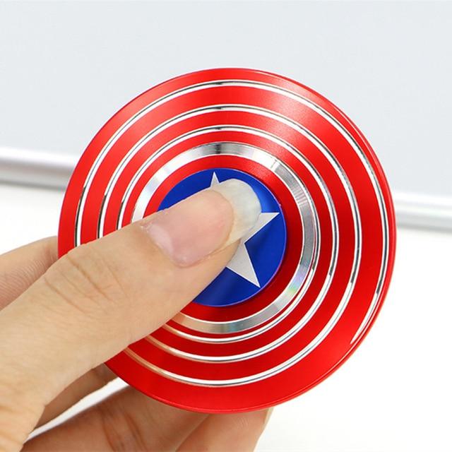Fidget Spinner Capitão América Hulk Ironman Spiderman Super Hero O Avenders Dedo Brinquedo Dedo Melhor Mão Spinner Metal Frio
