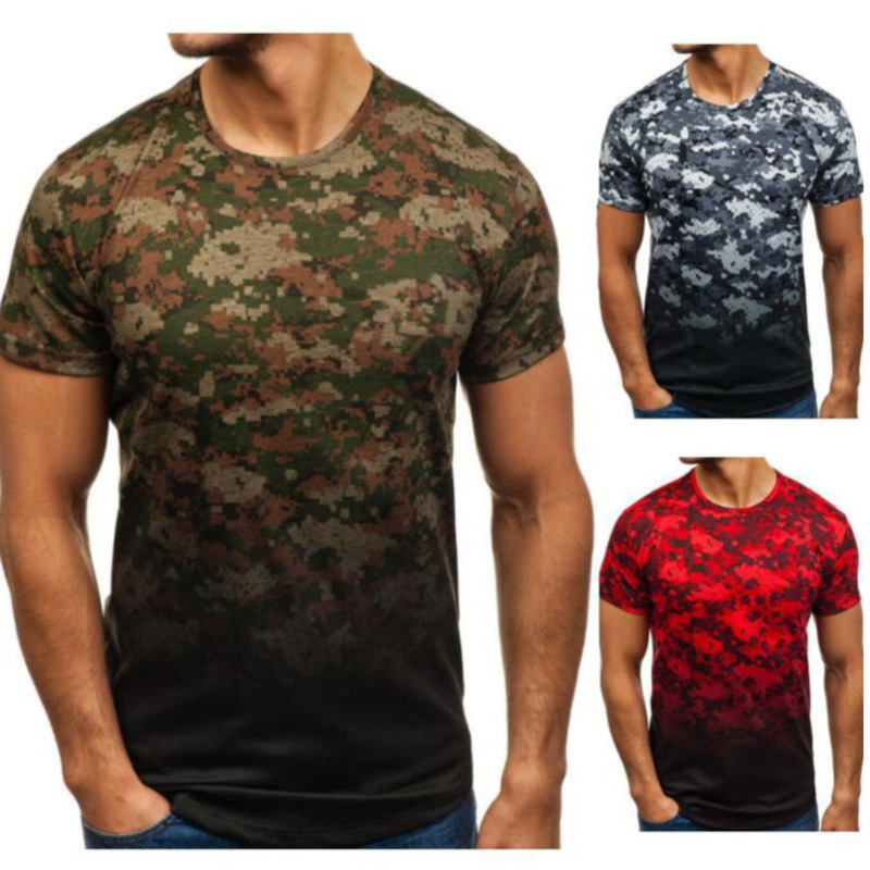 Summer Men's Plus Size Short Sleeve Camouflage Round Neck Pullover mens clothing T shirts Shirt Tops fashion tshirts
