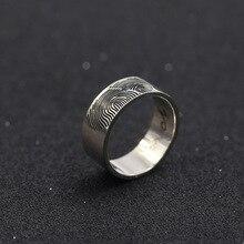 Fingerprint Men Ring Custom Name Solid Silver Engagement Rings Engraved Pattern Name Lover Ring Christmas Memorial Gift