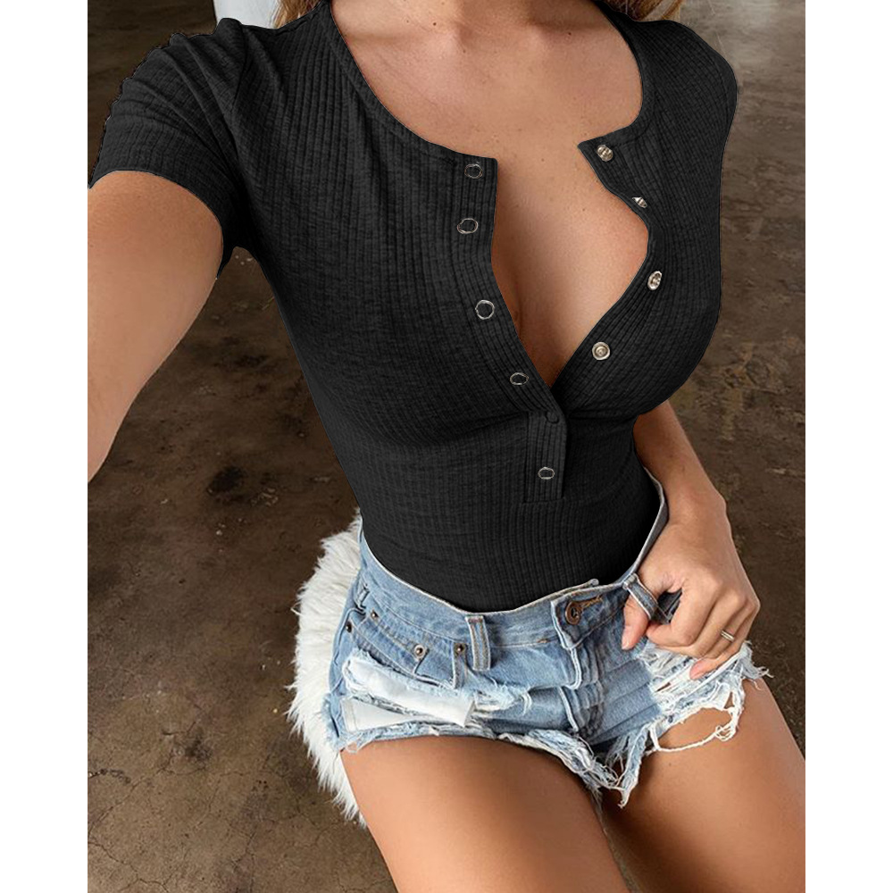 Kimuise sexy deep v neck knitted bodysuits women rompers female overalls jumpsuits short sleeve playsuit 2019 summer bodysuit in Bodysuits from Women 39 s Clothing