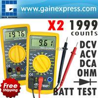 2 Pieces X Digital Multimeter AC DC Voltage DC Current Resistance Diode Battery Test Tester W