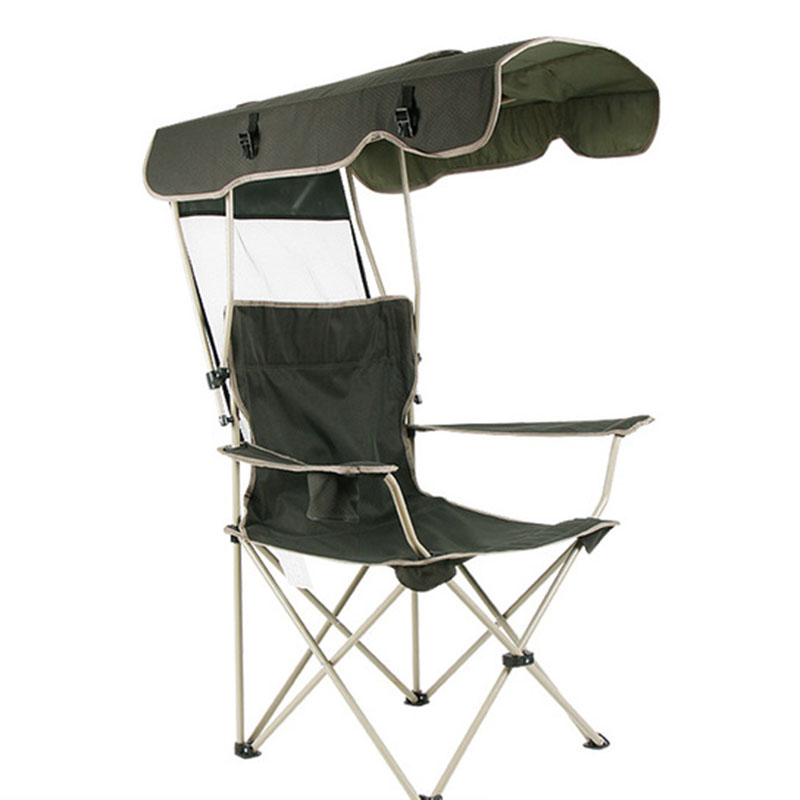 Outdoor Chair Portable Folding Detachable Awning Thicken Steel Pipe Double Oxford Cloth Fishing Beach Shade Canopy Camping Chair image
