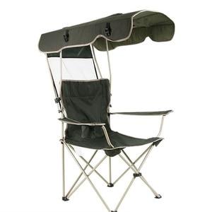 Image 1 - เก้าอี้กลางแจ้งแบบพกพาพับที่ถอดออกได้ Thicken เหล็กท่อคู่ Oxford ผ้าตกปลาชายหาด Shade Canopy Camping เก้าอี้