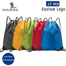 Zackpack Sports Drawstring Backpack Custom Logo Waterproof Bundle Pocket Drawstring Backpack Print Custom letter print zip pocket backpack