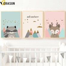 ФОТО verasun raccoon deer posters and prints baby girl room decor pop art poster nordic style kids decoration quadro roze home decor