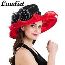 Women Wide Brim Summer Hat Organza Ribbon Floral UV Protection Beach Sun Cap Ladies Hat for Holiday Church Kentucky Derby Floppy