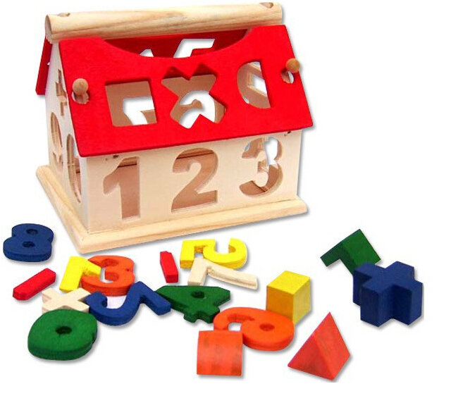 hot kids funny number puzzle toys wooden numbers house. Black Bedroom Furniture Sets. Home Design Ideas