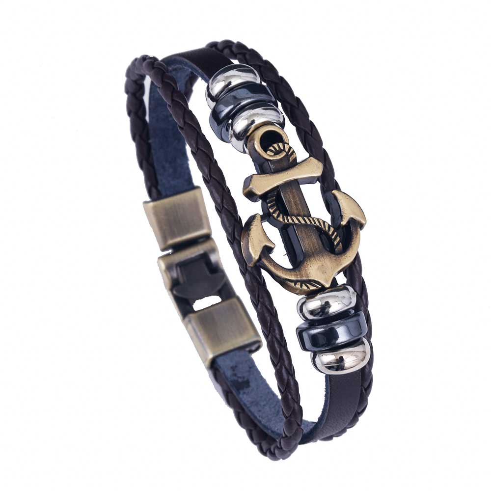 Men Vintage Metal Anchor Steel Studded Surfer Faux Leather Bangle Cuff  Bracelet