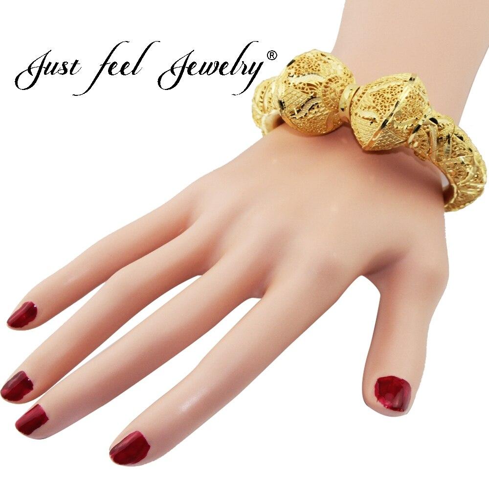 JUST FEEL New India Brass Openable Bangle Bracelet Screw Big Flowers Arab Ethiopian Bangle Gold Color Dubai Africa Jewelry Gift