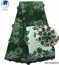 BEAUTIFICAL african green 3d lace fabric india beads embroidered high quality stones flowers laces ML35N60