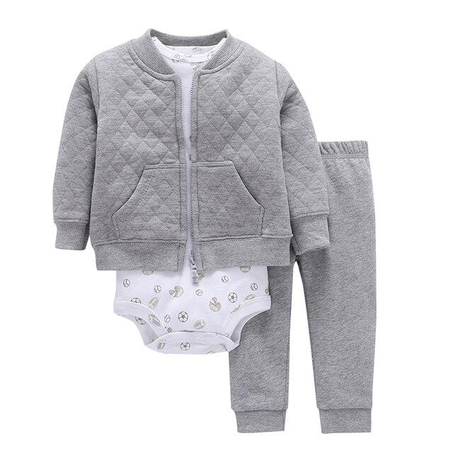เด็กทารกเด็กทารกชุดเสื้อผ้าเด็กแรกเกิดเสื้อผ้าเด็กวัยหัดเดินชุดUnisex New Bornชุดฤดูใบไม้ผลิฤดูใบไม้ร่วงชุดเสื้อแจ็คเก็ต + บอดี้สูท + กางเกง
