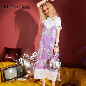 Image 3 - ELFSACK yeni yaz moda kadınlar şifon elbise A line çiçek baskı kısa kollu v yaka resmi Retro ince kadın elbiseler alt