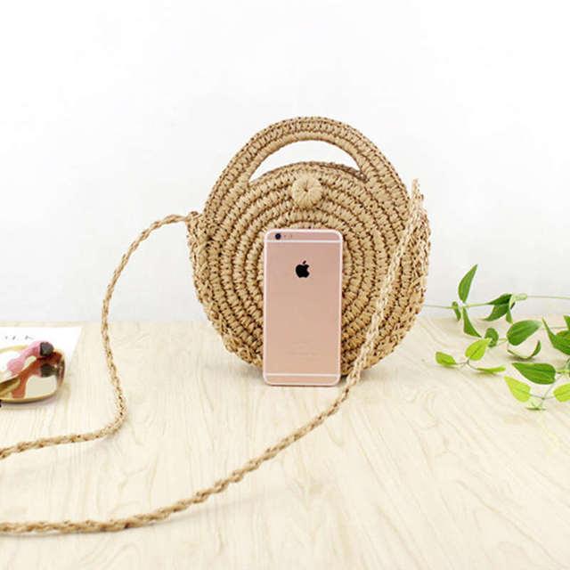 FGGS Round Paper rope Beach Bag Summer mini Vintage Handmade Crossbody straw Bag Girls Circle Rattan bag Small Bohemian Shoulder 2