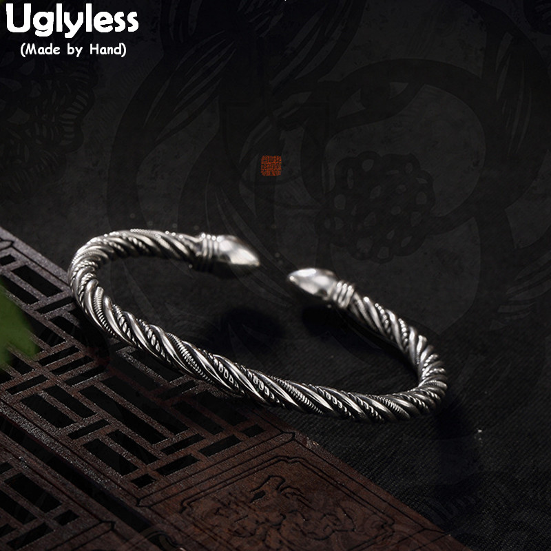 Uglyless Real 990 Silver Fine Jewelry Vintage Thai Black Silver Thick Bangles Women Cool Bullet Open Bangle Weave Twisted BijouxUglyless Real 990 Silver Fine Jewelry Vintage Thai Black Silver Thick Bangles Women Cool Bullet Open Bangle Weave Twisted Bijoux
