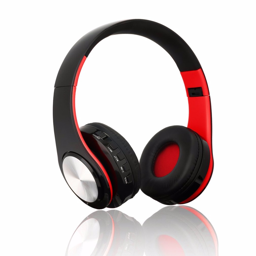 BTH-818 Foldable Wireless Bluetooth 4.0 Headset Stereo Headphones with Mic Sport Noise-Cancellation Headband Earphone MP3 Player headphones blutooth 4 1 wireless foldable sport earphone microphone headset with tf card slot mp3 player music earphone earpiece