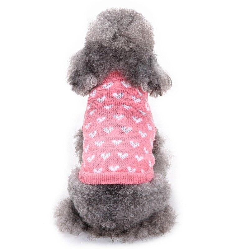 새 자격 애완견 개 의류 겨울 크리스마스 따뜻한 강아지 치와와 치와와 니트 강아지 강아지 애완 동물 제품 핑크 하트