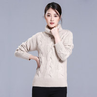 5 Colors 100 Pure Cashmere Thick Knitting Pullover Sweater Turn Down Collar Long Sleeves Winter Women