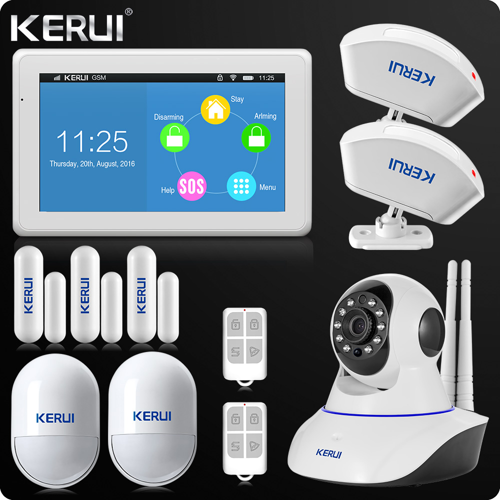 все цены на KERUI Touch-Screen 7 Inch TFT Color Display WIFI GSM Alarm System Home Alarm Security Dual Antenna Wifi IP Camera Curtain Censor