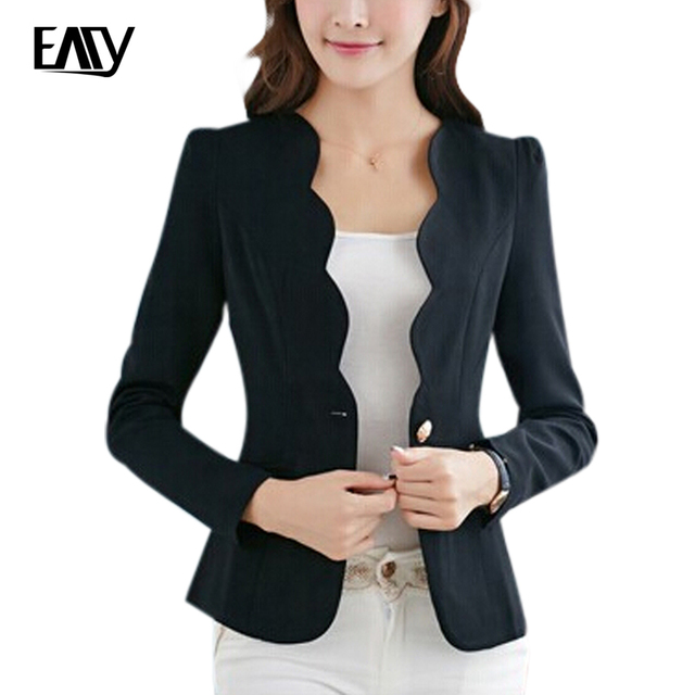 2017 New Arrive Spring Slim Women Office Coat Casual Women Jacket Long Sleeve One Button Suit Ladies Black White Work Wear S-XL