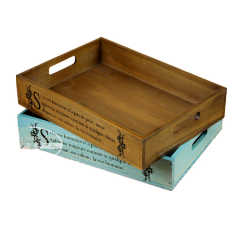 Vintage home decor serving tray wooden tray storage box for Application box decoration