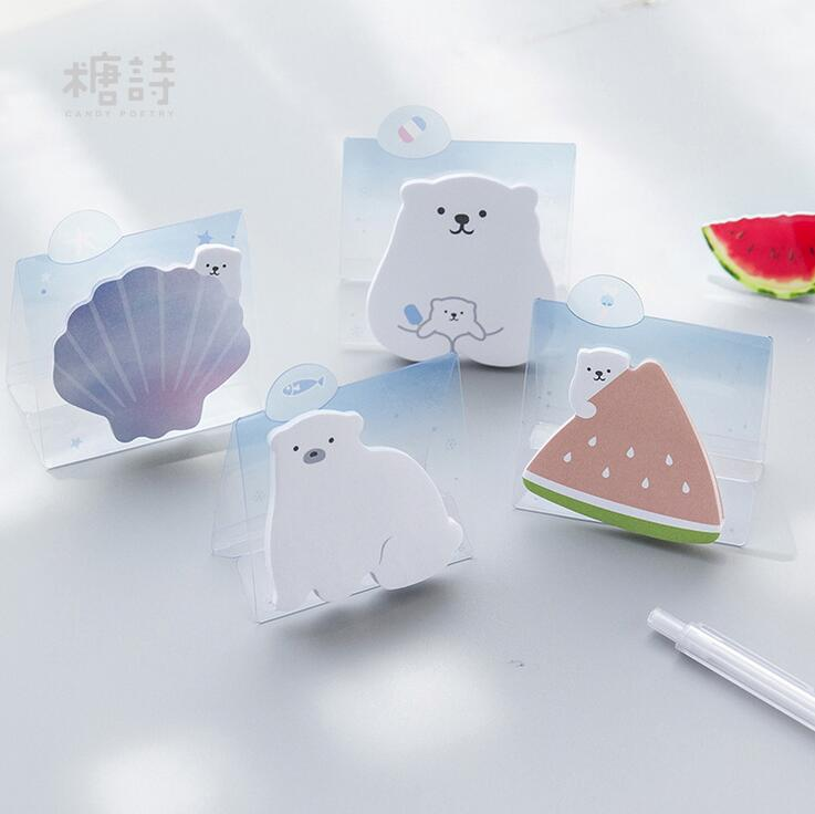 White Bear Memo Pad N Times Sticky Notes Escolar Papelaria School Supply Bookmark Label stylish memo pad scheduler about 160 page