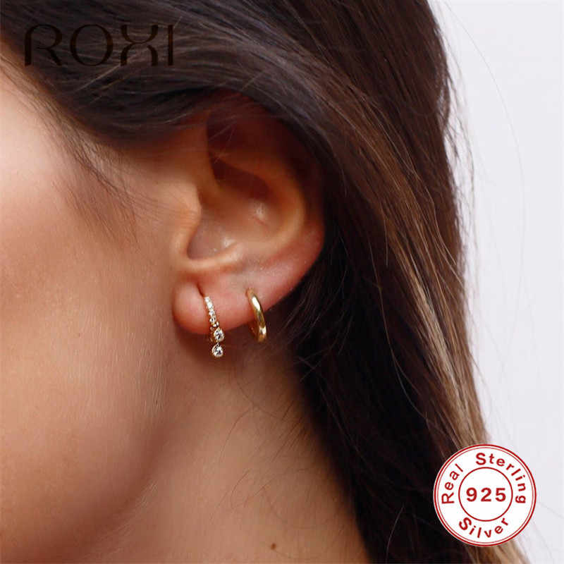 ROXI Tiny Fashion Jewelry Gold Small Hoop Earrings for Women Girls Gift CZ Huggie Earrings 925 Sterling Silver Earrings Brincos