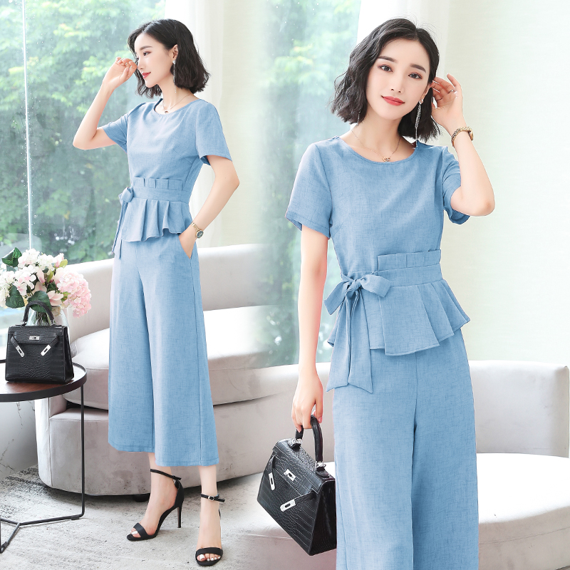 L-5xl Summer Elegant Two Piece Sets Outfits Women Plus Size Lace-up Bow Tunics Tops And Cropped Pants Suits Office Korean Sets 45