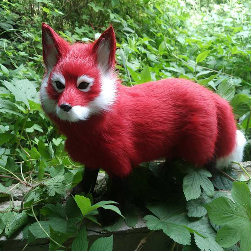 simulation red Fox toy handicraft lifelike standing firefox doll gift about 35x22cm
