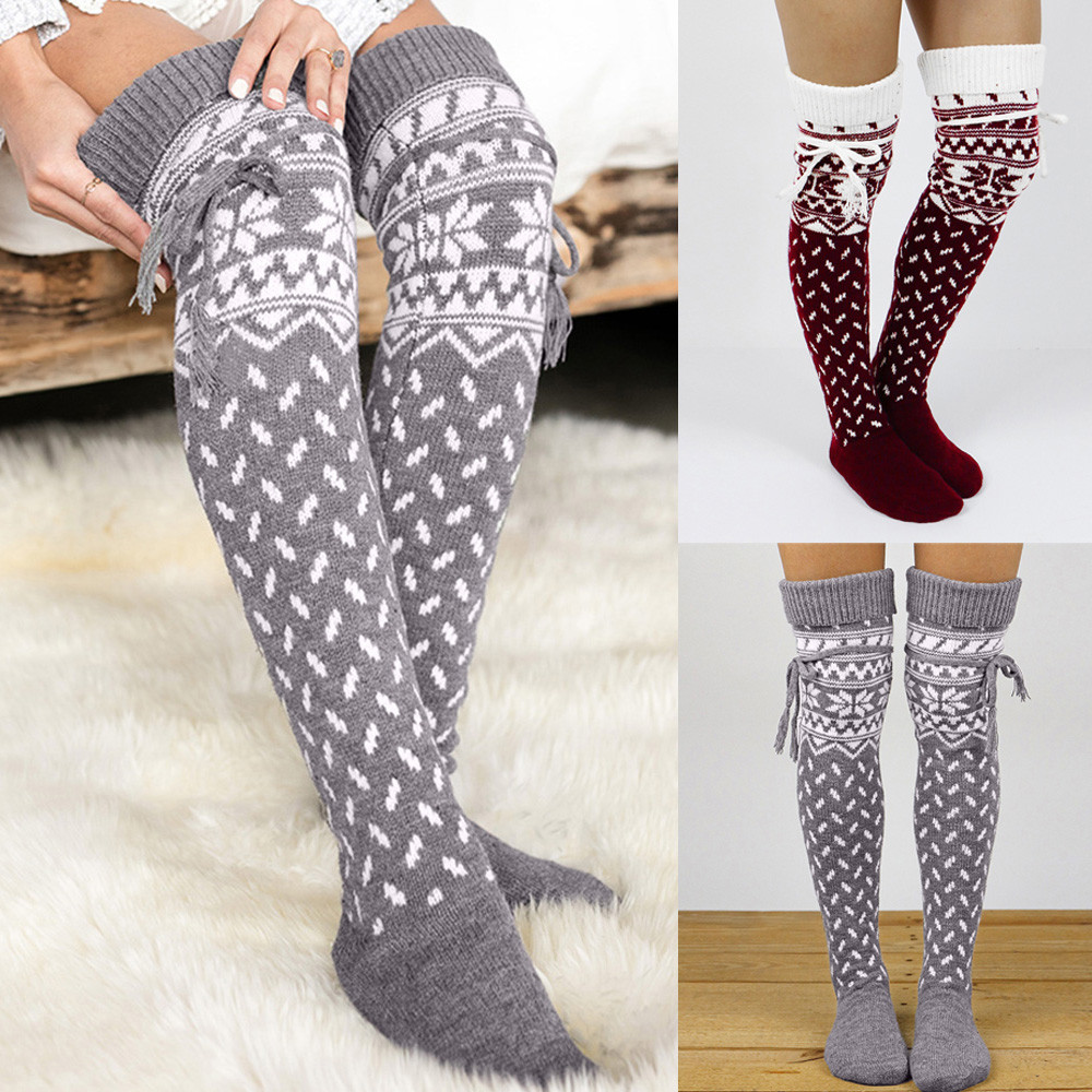 NEW Women Socks Christmas Sock Warm Thigh High Long Stockings Knit Over Soft Knee Sock Xmas Socquette Soxs Popular Style Hocoks