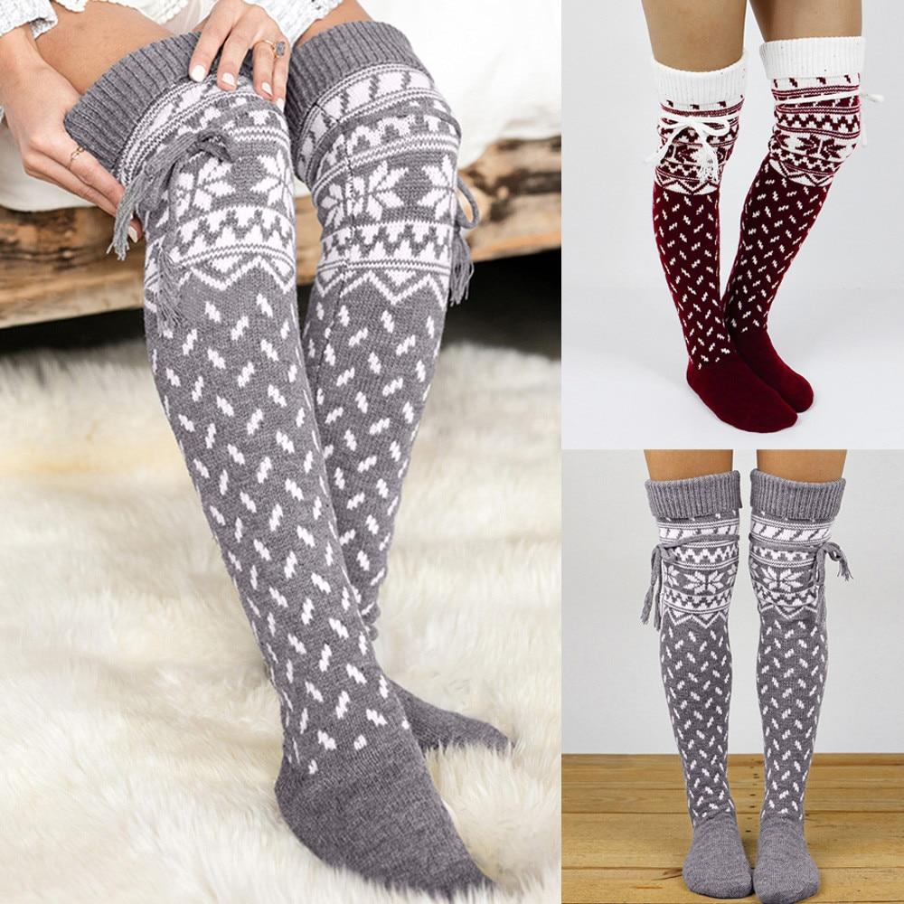 NEW Women   Socks   Christmas   Sock   Warm Thigh High Long Stockings Knit Over Soft Knee   Sock   Xmas Socquette Soxs Popular Style Hocoks