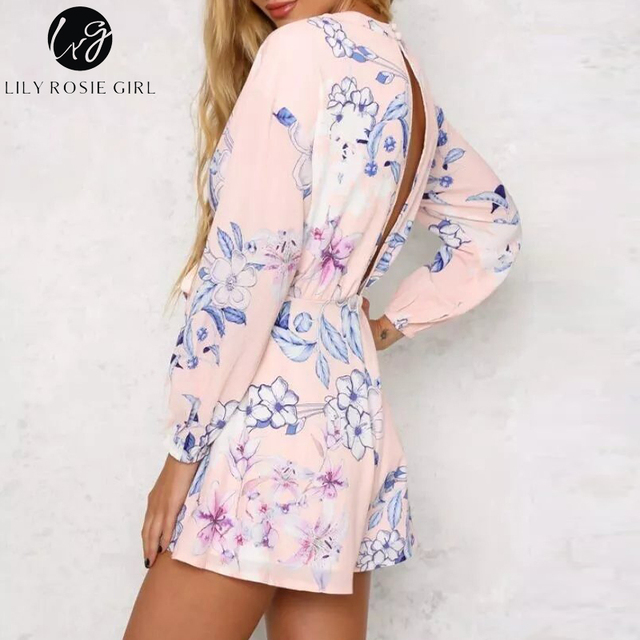 Elegant Chiffon Floral Print Long Sleeve Jumpsuit Rompers Women Deep V Neck Bow Sashes Overalls Sexy Hollow Out Short Playsuits