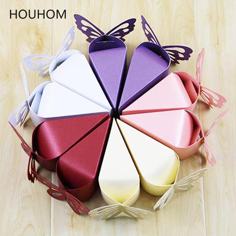 20pcs Butterfly Favor Dragees Candy Gift Boxes Carton Chocolate Cake Style Deco Mariage Wedding Party Flower Packaging Bags