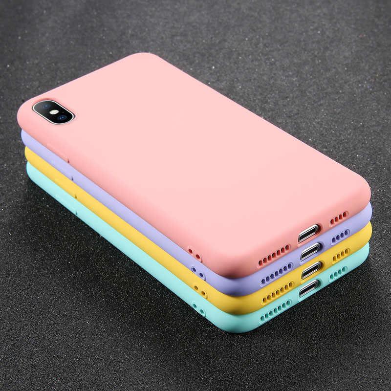 Uslion Silicon Màu Dành Cho iPhone XS 11 Pro Max XR X XS Max Kẹo Ốp Điện Thoại Cho iPhone 11 7 6 6S 8 Plus Bìa Mềm
